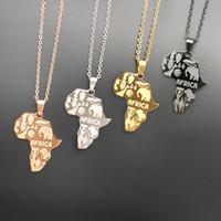 colliers afro hip hop achat en gros de-Carte de l'Afrique Pendentif Collier 4 Colorfor femmes Bijoux pour hommes Éthiopien Dog Tags Pendentifs Hip Hop Colliers pour garçon Bijoux Cadeaux