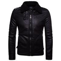 ключевые слова оптовых- Winter Leather Jacket Men Faux Fur Coat Men Thick Biker Jacket PU Windbreaker Coats Casual Zipper PU Leather