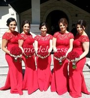 Wholesale white bridesmaid buttons for sale - Red Backless Mermaid Bridesmaid Dresses Bateau Sweep Train Lace Arabic Plus Size Garden Country Wedding Guest Gowns Maid Of Honor Dress
