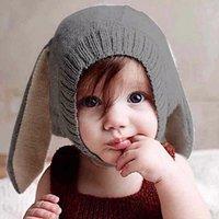 ingrosso cappelli coniglietto neonato-Cappelli di orecchie di coniglio Cappelli morbidi caldi Cappelli di bambino carino per bambini a maglia Beanie di coniglio per unisex Baby 0-3Y Puntelli foto neonato
