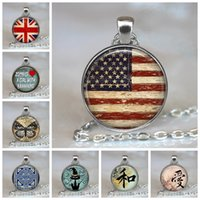 Discount pendant necklaces uk Usa Uk Flag Fashion Woman Man Jewelry The America British Flag Great Britain Glass Cabochon Pendant Handmade Necklace Gift