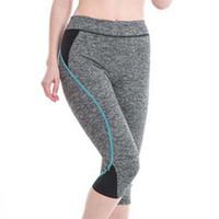 ropa ajustada sexy al por mayor-Leggings de yoga pantalones 2019 Calf-Length Pants Slim Cropped Pants ropa de gimnasia de entrenamiento de moda empuja hacia arriba sólidos sexy medias # 816734