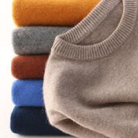 ingrosso maglia lavorata a maglia-Maglione di cotone cashmere uomo autunno inverno jersey Robe hombre pull homme hiver pullover uomo o-collo Maglioni lavorati a maglia