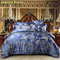Wholesale black quilt king size for sale - Group buy Floral Pattern Luxury Bedding Set Modern Jacquard Duvet Cover Sets Single Queen King Size Wedding Bed Linens Europe Quilt Covers