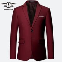 ingrosso yellow fitted men blazer-Plyesxale Blu Rosso Verde Bianco Grigio Giallo Blazer viola Uomo 2018 Slim Fit Uomo Blazer Giacca sportiva 5-6xl Blazer uomo Q65 J190420