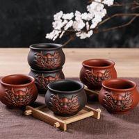 Wholesale health care tea resale online - Vintage Health care Ceramic Tea Cup Purple Clay Dragon Master Cup Bowl Creative Home Decor Teacup Accessories