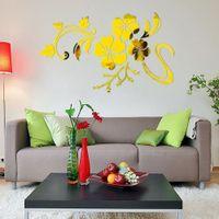 prix autocollants 3d mur achat en gros de-Prix le plus bas Livraison Gratuite 3D Miroir Vinyle Amovible Sticker Mural Decal Home Decor Art DIY sticker mural Stickers