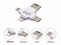 lecteur de carte iphone sd achat en gros de-4 en 1 lecteur de carte de type C adaptateur micro USB TF lecteur de carte micro SD pour Android iPad / iPhone 7plus 6s5s lecteur de carte MacBook OTG