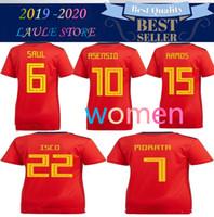 football espagnol achat en gros de-2019 2020 Espagne Coupe du Monde Femmes Espana Morata fille dame Maillot de football A.INIESTA FABREGAS RAMOS COSTA SILVA ISCO Home