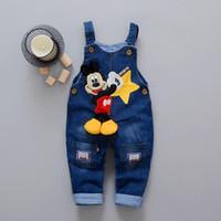 mädchen elastische jeans großhandel-Karikatur-Baby-Kleidung-Denim-Hosen-elastische Taillen-beiläufige gedruckte Kleinkind-Hosen-Mädchen-Hosen-Kinderjeans für 1-4T Unisex