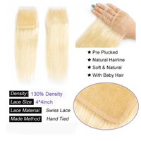 Wholesale bleached hair knots swiss closures resale online - BEAUDIVA Brazilian Straight Hair Bleached Knots Swiss Lace Closure with Baby Hair Blonde Straight Hair