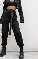 denim caprihose für frauen großhandel-Streetwear Cargo Pants Frauen Casual Jogger Schwarz Hohe Taille Lose Weibliche Hose Korean Style Ladies Pants Capri