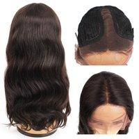 orta bölüm dantel peruk toptan satış-Öpücük Saç Orta Kısmı Ön Koparıp T Dantel Ön Peruk Vücut Dalga Virgin İnsan Saç Peruk 14-28 inç Tam Dantel Peruk Afro-amerikan Peruk