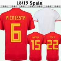Wholesale spain mens shorts resale online - 2018 Spain A INIESTA SERGIO RAMOS Mens Soccer Jerseys ISCO DIEGO COSTA Home Red Away Football Shirts ASENSIO PIQUE Short Sleeve Uniforms