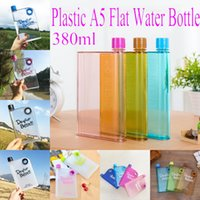 flache plastikflaschen großhandel-A5 Flacher Wasserkocher Kunststoff A5 Flache Wasserflasche Tragbare auslaufsichere Milchflasche Transparente Plastikwasserflasche Outdoor Sport Drinkware