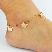 sandalias descalzas tobillo pulseras al por mayor-Simple Leaves butterfly Anklets Barefoot Crochet Sandals Foot Jewelry Leg New Anklets On Foot Ankle Bracelets For Women Leg Chain