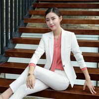 Wholesale women s white elegant suit resale online - Formal Jackets Women Pant Suit Elegant Slim Business Lady White Blazer Suit with Trouser Traje Formal Mujer Office Wear