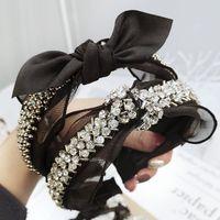 kafa bandı kelebek toptan satış-Dantel Bandı Elmas Inci Taklidi Saç Aksesuarları Siyah Kelebek Kadınlar için Butik Yay Saç Bantları Düğüm Haar Accessoires