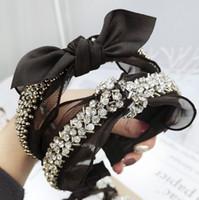 perle noire avec cheveux achat en gros de-Dentelle Bandeau Diamant Perle Strass Accessoires De Cheveux Papillon Noir Boutique Arc Bandes De Cheveux pour Femmes Knot Haar Accessoires