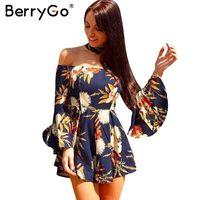сексуальный комбинезон оптовых-BerryGo Холтер вспыхивает рукав от плеча комбинезона ползунки женщин сексуального цветочных печатей коротких легкого костюм с шортами Летнего пляжем случайной спецодежды