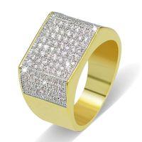 grandes anillos de circonio cúbico al por mayor-Grandes anillos de plata chapados en oro para hombres Calidad de grado Glarings Cubic Zirconia Anillos de racimo al por mayor Hiphop clásico anillos de dedo