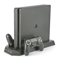 Wholesale playstation slim consoles resale online - High quality Dual Joystick Controller Charger Dock Station for Sony Playstation Slim Games Console Vertical Cooling Stand