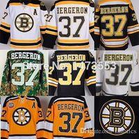 patrice bergeron черный ледяной трикотаж оптовых-Бостон # 37 Patrice Bergeron Bruins Хоккейная майка, недорогие спортивные майки для хоккея с шайбой дома Black White Road CCM Yellow Winter Classic