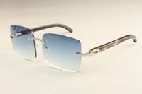 Wholesale fashion sunglasses dhl resale online - New factory direct luxury fashion ultra light large frame sunglasses B4 natural black pattern horn sunglasses DHL