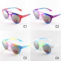 ingrosso occhiali da sole alla moda-New Trendy Baby Bambini Multicolor Occhiali da sole Kids Boys Girls Occhiali da sole UV400 Protezione Childrens Round Kids Glasses 231