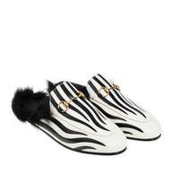 ingrosso le scarpe reali del coniglio-Pantofole Zebra Princetown a casa Le pantofole Le Fu e stella con un vero coniglio scarpe basse da donna