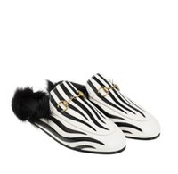 Wholesale real rabbit shoes resale online - Zebra Princetown slippers home Le Fu slippers and star with a real rabbit flat shoes woman