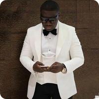 jaqueta de baile marfim homens venda por atacado-Popular marfim noivo smoking lapela groomsman casamento 3 peça terno moda masculina de negócios Prom Blazer Jacket (Jacket + Pants + Tie + Vest) 2601