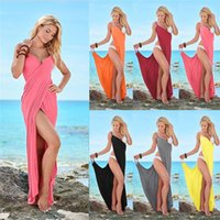 Wholesale maxi slips for sale - Fashion Women Slip Dress Solid Color Beach Dresses Summer Sleeveless Braces Skirt Sexy Night Club Dress Party Wear S XL Colors C3295