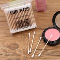 limpiadores cosméticos para herramientas al por mayor-100 unids / pack Bamboo Cotton Buds Bastoncillos de algodón Médica Limpieza del oído Palos de madera Maquillaje Herramientas de salud Tampones