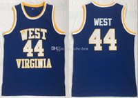 camiseta de baloncesto del oeste al por mayor-NCAA West Virginia Mountaineers # 44 Jerry West College High School jerseys retro Baloncesto azul cosido de la vendimia Jersey S-3XL