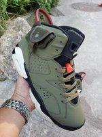 sapatas dos homens do verde escuro venda por atacado-Travis Jumpman 6 OG Mens tênis de basquete Cactus Jack x 6s Brilho In Dark 3M Exército reflexiva verde Tinker TS SP des Chaussures