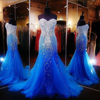 askısız boncuklu denizaltı elbisesi toptan satış-Lüks Okyanus Mavi Straplez Boncuklu Mermaid Uzun Örgün Parti Abiye giyim Tül Kristaller Sweep Gelinlik Modelleri
