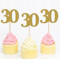 Wholesale birthday numbers cake toppers for sale - Group buy DHL Cupcake Toppers Golden Glitter Number Happy Birthday Cake Topper Cake Decoration Picks nn Anniversary style number