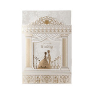 ingrosso foglio di invito-50 pezzi di biglietti d'invito per matrimoni, inviti per inviti di nozze in stile chiesa con cornice sventolante oro Y19061704