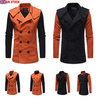 черная шерстяная куртка оптовых-Men's Woolen Overcoat Coat Long Sleeve Formal Thicken Double Breasted Outwear Fit Jacket Orange Black Trench