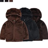 ayı kostümü satışı toptan satış-Çocuklar Erkek Kız Peluş Hoodie Zip-Up Coat Bear Kulak Kazak Ceket Kazak Kostüm Uzun kollu 2019 Yeni Moda Sıcak Satış