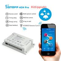 ev otomasyon anahtarları toptan satış-Orijinal Sonoff 4CH R2 Akıllı Anahtarı 4 Gang Din Ray Montaj WIFI Akıllı ON / OFF Kablosuz DIY Zamanlayıcı Anahtarı 220 V Akıllı Ev Otomasyonu