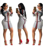 vestidos brancos para discoteca venda por atacado-Venda quente Mulheres Impresso Bodycon Vestido Moda Manga Longa Boate Sexy Vestido Vermelho Verde Impressão Listrada Vestido Fino Preto Branco Cores S-XL