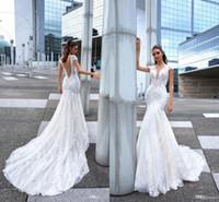 Wholesale simple elegant wedding tulle mermaid dresses resale online - Romantic Elegant White Full Lace Mermaid Wedding Dresses Capped Sleeves Deep V Neck Lace Appliqued Wedding Bridal Gowns Custom Made