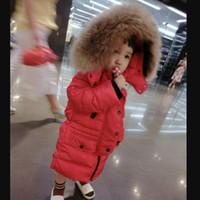 banda de piel de niña al por mayor-Nueva llegada de invierno larga de piel real abajo chaquetas niña y niños banda de pato blanco abajo abrigos de moda sólida ws20 envío gratis