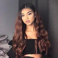 perucas remy indianas da parte dianteira do laço venda por atacado-Glueless Full / Front Lace Wigs Cabelo Indiano Ombre cor marrom escuro longo cabelo Humano cru remy onda do corpo cru