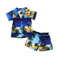 ingrosso vestiti di stile dei ragazzi-Baby Boys Summer Holiday Beach Style Set di abiti Bambini Manica corta Abiti Stampa cocco Albero + Pantaloncini Boy Homewear