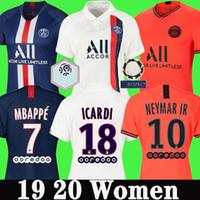 camisas naranjas para niñas al por mayor-PSG calidad tailandesa 19 20 camisetas de fútbol mujer 2019 2020 niñas CAVANI ICARDI hogar lejos del Tercer Naranja Mbappé camiseta de fútbol uniforme maillot