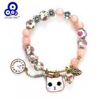 cristal de cuentas de gato al por mayor-Lucky Eye Crystal Beaded Bracelet Pink Cat Charms Pulsera Para Mujeres Chica Pulsera Joyería de Moda Regalos de Navidad EY5272