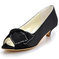 черные атласные туфли оптовых-EP2022 Black Blue Women Bridal Party Low Heels Prom Pumps Peep Toe Comfortable Rhinestone Bow Satin Wedding Bride Dress Shoes
